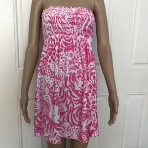 LILLY PULITZER Terry Smocked Swim Coverup Dress S